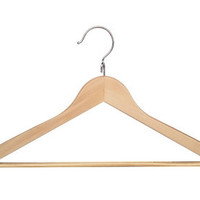 Wood Curved Clothes Hangers Natural Finish (8 Pack)