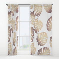 Pastel monstera Window Curtains by Printapix