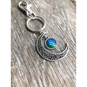 Mermaid Crescent Moon Key Chain, Purse Charm, Mermaid Scales, Moon Accessories,Boho, Moon Child, Siren, Gypsy, Bohemian, Gift