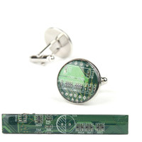 Green Palladium Circuit Board Cuff Links & Tie Bar Set Monkey Suits