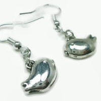 Silver Bird Earrings, Hypoallergenic, Pierced