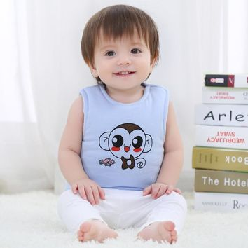 Spring Newborn Baby Vests Cotton Warm Vest for Baby Girls Boys Unisex Cute Monkey Animal Waistcoat Infant Kids Bebe Outerwear