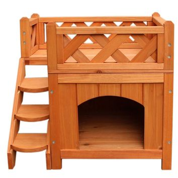 Wooden Cat House Cat Dog Room for Indoor Use Puppy Bed Room with Stairs Shelter Balcony Bed Cat Condo for Small Pets - US Stock