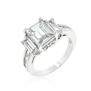 CZ Ring, CZ Wedding Ring, CZ Engagement Ring, Cubic Zirconia Engagement Ring, Promise Ring, Anniversary Ring, 5.05 ct Emerald cut ring