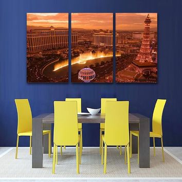 HD Prints Modular Canvas Paintings Home Decor 3 Pieces Las Vegas City Nightscape Pictures Modern Posters Living Room Wall Art