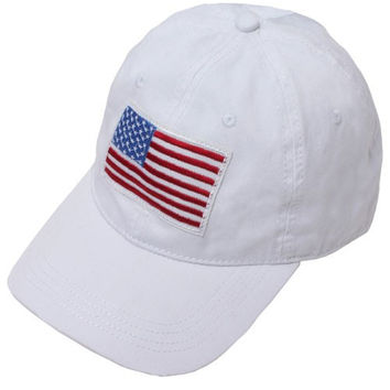 American Flag Patch White Cap