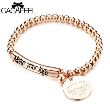 Unique Beads Cuff Bracelets&Bangles Laser Women Engrave Logo Stainless Steel Bangle Wrap Watch With Round Cards Female Jewelry