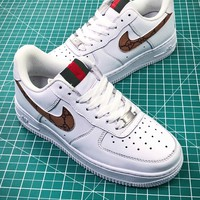 Supreme X Gucci X Nike Air Force 1 Af1 Low Sport Shoes - Best Online Sale
