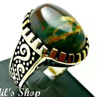 Men's Ring, Turkish Ottoman Style Jewelry, 925 Sterling Silver, Authentic Gift, Traditional Handmade, With Rainforest Rhyolite, US Size 10