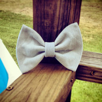 Light Wash Denim Hair Bow by DenimAndStuds on Etsy
