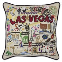 Las Vegas Hand Embroidered Pillow