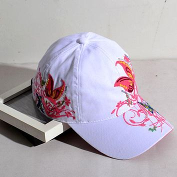 free shipping baseball hat female Korean tidal outdoor sports cap hip-hop cap embroidered hats embroidered butterfly