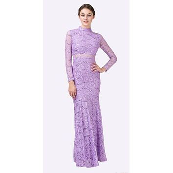 Long Sleeve Lace Full Length Dress Lilac Mock 2 Piece High Neck