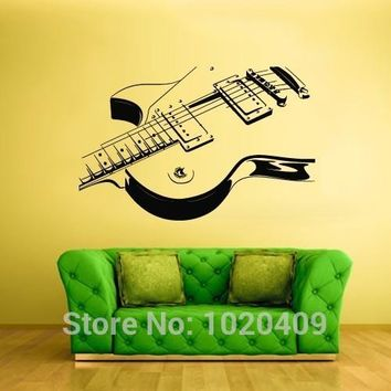 piano music notes musical instrument dance guitar art designs Wall Vinyl Sticker Caligraphy Words Quotes home cut sticker T321