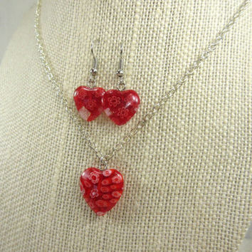 Heart Necklace Set, Red Heart Necklace, Red Heart Earrings, Red Heart Millefiori Beads, One of a Kind