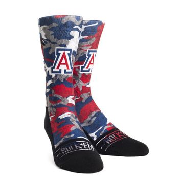 Rock 'Em Elite, Arizona Wildcats Armored Camo, Licensed Crew Socks