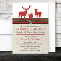 Couples Shower Invitations - Rustic Deer Burlap Red Holiday - Deer Couples Wedding Shower - Printed Invitations