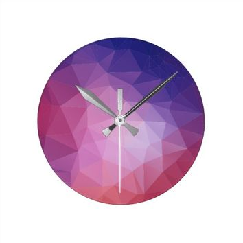 3D Geometric Abstract Pattern Round Clock