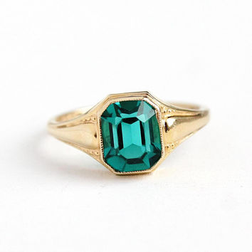 Blue Stone Ring - Vintage 10k Rosy Yellow Gold - 1940s Size 7 Dark Aqua Blue Emerald Cut Glass Stone A&Z Fine Faceted Jewelry