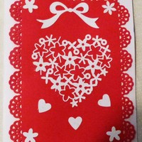 White with Red Heart Overlay Card, 5