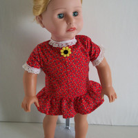 Handmade for 18 Inch Doll Dress Red Print with White Lace by vw53