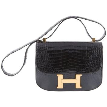 Hermes Black Constance H Shoulder Bag, 1960s