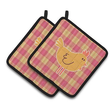 Chicken Hen on Gingham Pair of Pot Holders BB7090PTHD