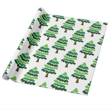 Festive Holiday Christmas Trees Wrapping Paper