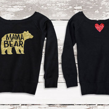 Mama Bear Shirt - Sweatshirt Jumper with Sequin Heart Patch