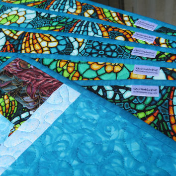 Scrap Quilted Placemat Turquoise 608