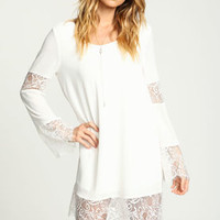 White Lace Bell Crepe Dress - LoveCulture