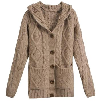 Casual Loose Sweater Single Breasted Cable Hooded Knit Cardigan