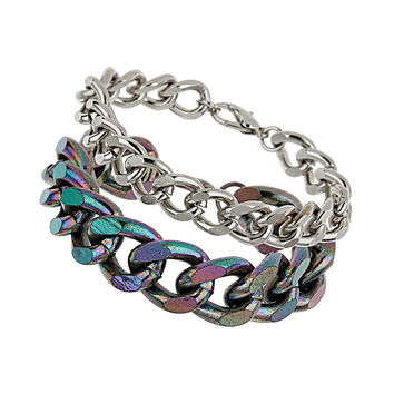 Iridescent Mixed Multi Chain Bracelet - New In This Week  - New In