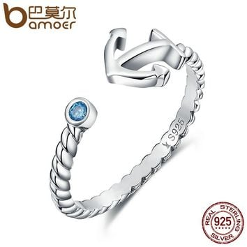 Authentic 925 Sterling Silver Light Blue Stone Anchor Women Open Finger Ring Fashion Sterling Silver Jewelry Gift SCR070