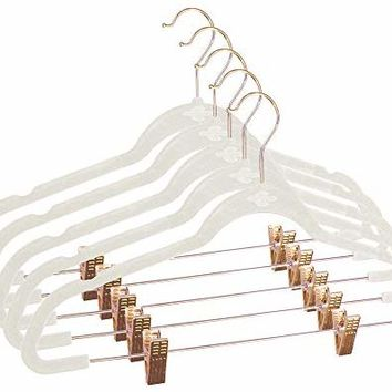 Closet Complete Ultra-Thin No Slip Velvet Pants and Skirt Hangers with Clips, 5 Pack, Ivory