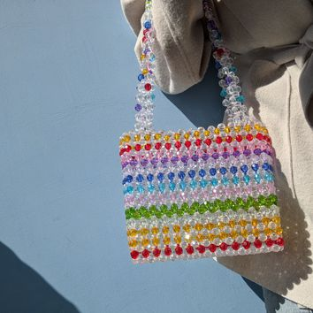 Colorful Crystal Rainbow Bead Handbag