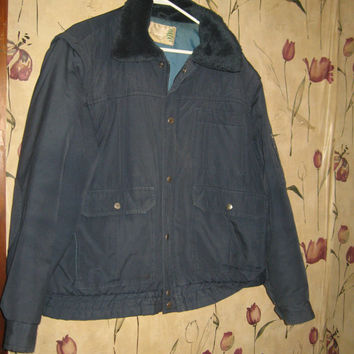 70s SEARS Fieldmaster navy blue police style w removable sleeves work jacket/ vest size x large