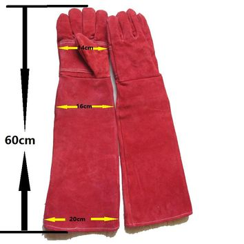 New long leather 60cm Anti-bite safety gloves for Catch dog,cat,reptile,snake,animal anti Pets grasping biting protective gloves