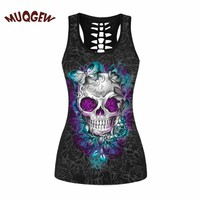 skull clothing butterfly skull printed women Sleeveless vest camiseta terror schedel sugar skull tank tops for women #ZKERBA