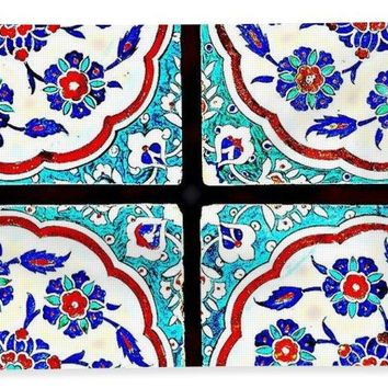 An Ottoman Iznik Style Floral Design Pottery Polychrome, By Adam Asar, No 14a - Bath Towel