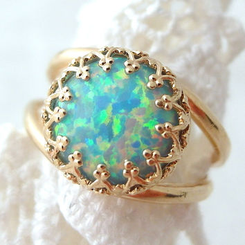 Mint opal ring, Gold plated ring, Gemstone ring, Opal ring, October birthstone ring, Sterling silver ring, Vintage ring, fire opal ring