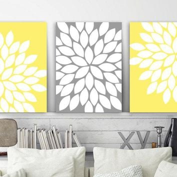 Flower Wall Art, Yellow Gray Bedroom Wall Decor, Yellow Gray Nursery CANVAS or Prints, Yellow Gray Bathroom Decor, Flower Artwork, Set of 3
