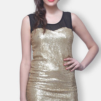 Sleeve Less Gold Embellished Dress