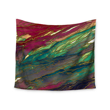 "Ebi Emporium ""Agate Magic - Bold Red Aqua"" Green Maroon Wall Tapestry"