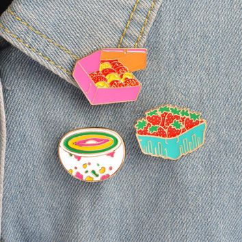 Hfarich Cute Cartoon Strawberry Cookies Rainbow Bowl Pins Brooches Denim Jacket Buckle Shirt Badge Gift for Kids girls Food jewe