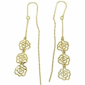 Flower Charm Threaders Earrings 18K of Gold-Filled