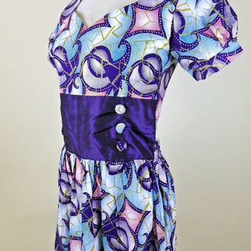 Vintage 80s Party Dress // Bright Purples Blues Pinks // Puff Sleeves // Button Accents // Small Medium