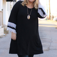 Devoted To Lace Tunic/Dress With Accented Sleeves ~ Black ~ Sizes 12-18