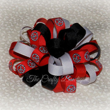 Peace Sign Bow ~ Black & Red Bow ~ Zebra Print Bow ~ Red and Black Bow ~ Red Loopy Bow ~ Black Loopy Bow ~ Loopy Headband Bow ~ Peace Sign