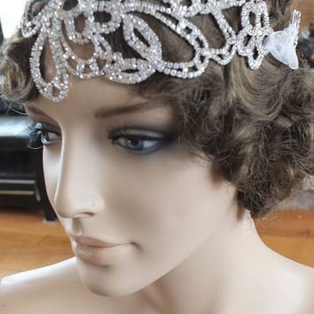 Art deco wedding inspired rhinestone wedding headband tiara headpiece 1920s flapper